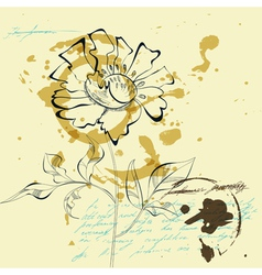 sketch with flower vector image