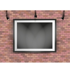 Black photo frame on brick wall vector