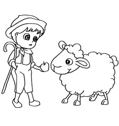 Coloring book child feeding sheep vector