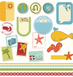 Summer holiday scrapbook set vector
