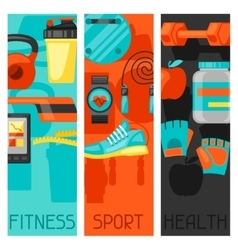 Sports and healthy lifestyle banners with fitness vector