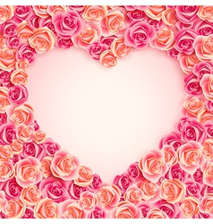 pink roses heart vector image