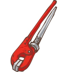Red metal adjustable wrench vector