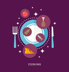 In flat design style food and cooking icons on the vector