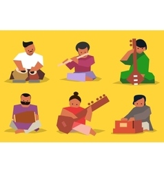 Indian musician set vector