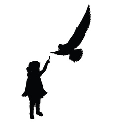 Child with bird silhouette vector
