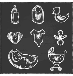 Set of baby shower icons with diaper crawler vector image