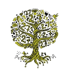 Tree 27 with roots zentangle for your design vector