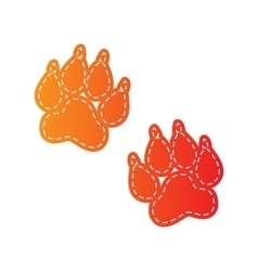 Animal tracks sign orange applique isolated vector