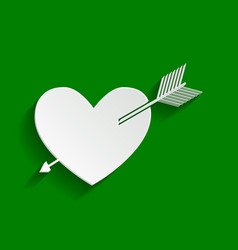Arrow heart sign paper whitish icon with vector