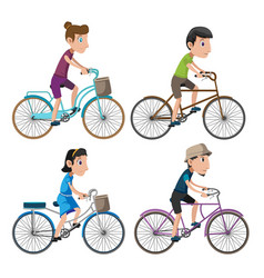 Bicycle isolate people collection set vector