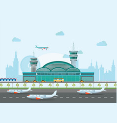 building airport with runway and plane vector image