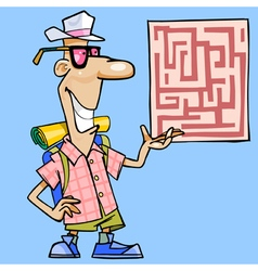 cartoon man with a backpack shows a map vector image vector image