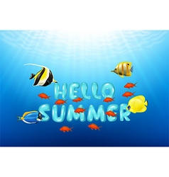 Cartoon of Hello Summer with Tropical fish vector image vector image