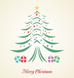 Christmas tree creative card on background vector image