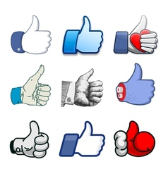Collection of thumbs Up icons holidays design vector image vector image