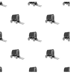 Cowboy wagon icon in black style isolated on white vector