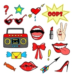 Cute fashion patch badges with lips handtape vector image