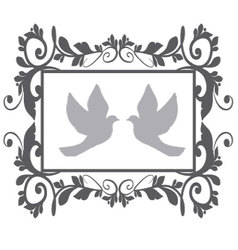 Doves with flourishes vector