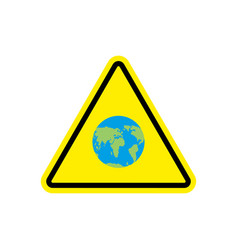 Earth warning sign yellow planet hazard attention vector