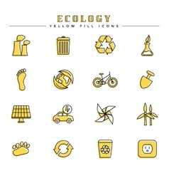 Ecology yellow fill icons set vector