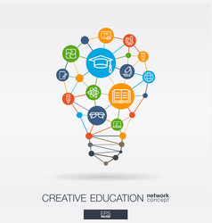 education integrated thin line icons digital vector image vector image