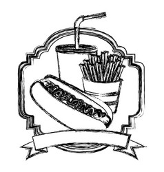 Figure emblem with hot dog fries french and soda vector