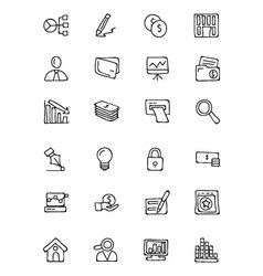 Finance Hand Drawn Doodle Icons 6 vector image