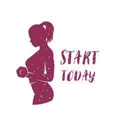 fitness girl lifting dumbbell logo design for gym vector image