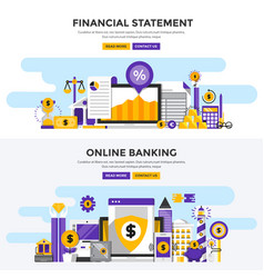 flat design concept banners - financial statement vector image vector image