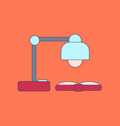 flat icon with thin lines lamp book vector image vector image