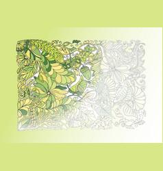 Green spring doodle half coloring vector