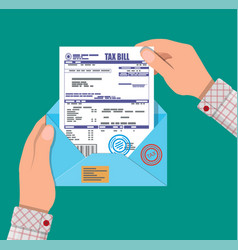Hands holds envelope with tax declaration vector