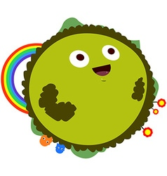 Happy green planet with rainbow vector