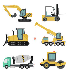 Heavy construction machinery flat icon set vector