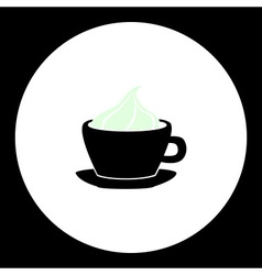 Hot chocolate or coffee with cream in cup icon vector