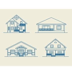 Houses linear 2 vector image vector image