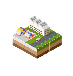 isometric icon factory vector image vector image