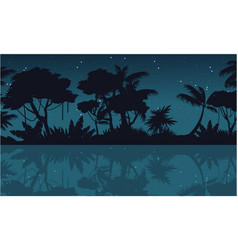 Lake scenery on jungle silhouette at night vector
