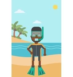 Male scuba diver on the beach vector