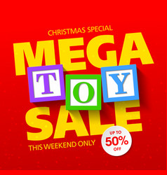 mega toy sale banner vector image vector image