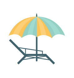 metal sunbed and umbrella of blue and yellow vector image