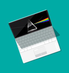 modern open laptop computer with prism on screen vector image