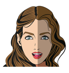 pretty girl with beautiful hair and attractive vector image