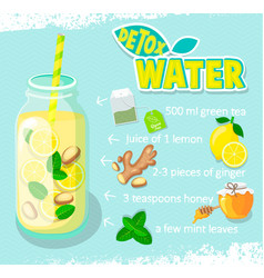 recipe for detox cocktail with green tea vector image