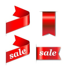 Red web sale ribbons set vector