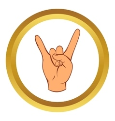 Rock and Roll hand sign icon cartoon style vector image
