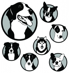 Round dog emblems and stickers vector