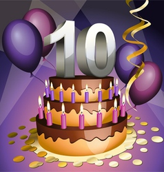 Tenth anniversary cake vector