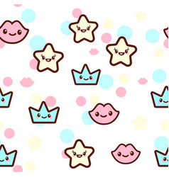 the stars lips and crowns vector image vector image